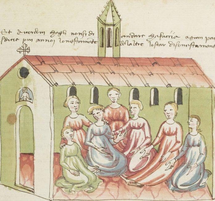 Седем девици преживяват корона-вируса във Флоренция - средновековна миниатюра към